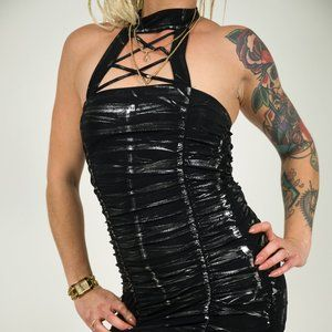 Sexy Black Silver Dress, Attached, Sleeveless